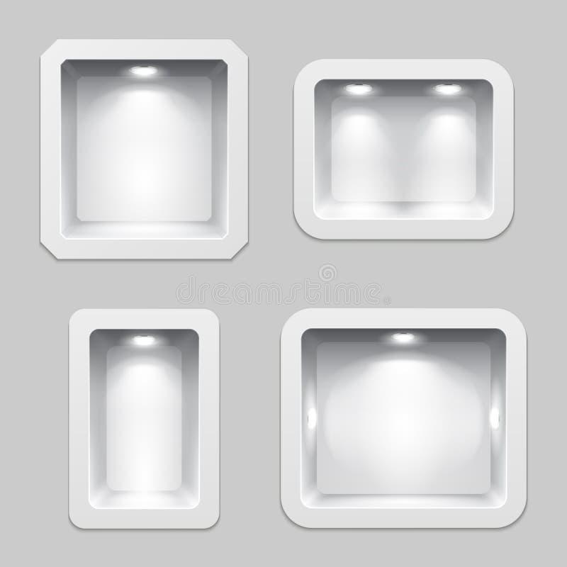 Las cajas plásticas o la exhibición blancas vacías del lugar, producto de la exposición 3d deja de lado con la iluminación stock de ilustración