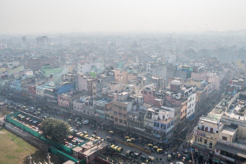 Las calles de Delhi vieja La visión desde la tapa fotos de archivo libres de regalías
