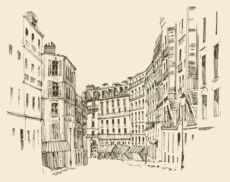 Las calles en París, Francia, vintage grabaron el ejemplo, mano dibujada stock de ilustración