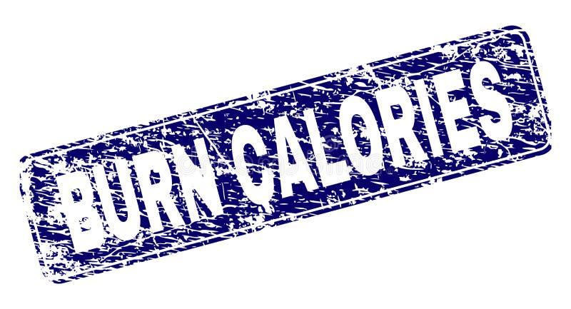 Las CALORÍAS de la QUEMADURA del Grunge enmarcaron el sello redondeado del rectángulo ilustración del vector