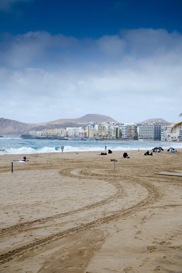 Las Canteras海滩,拉斯帕尔马斯de大加那利岛,大加那利岛,西班牙 免版税库存照片
