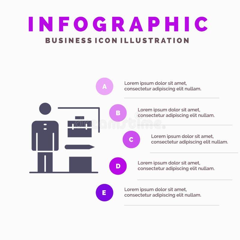 Las capacidades, logradas, alcanzan, fondo de la presentación de los pasos de Solid Icon Infographics 5 del hombre de negocios ilustración del vector