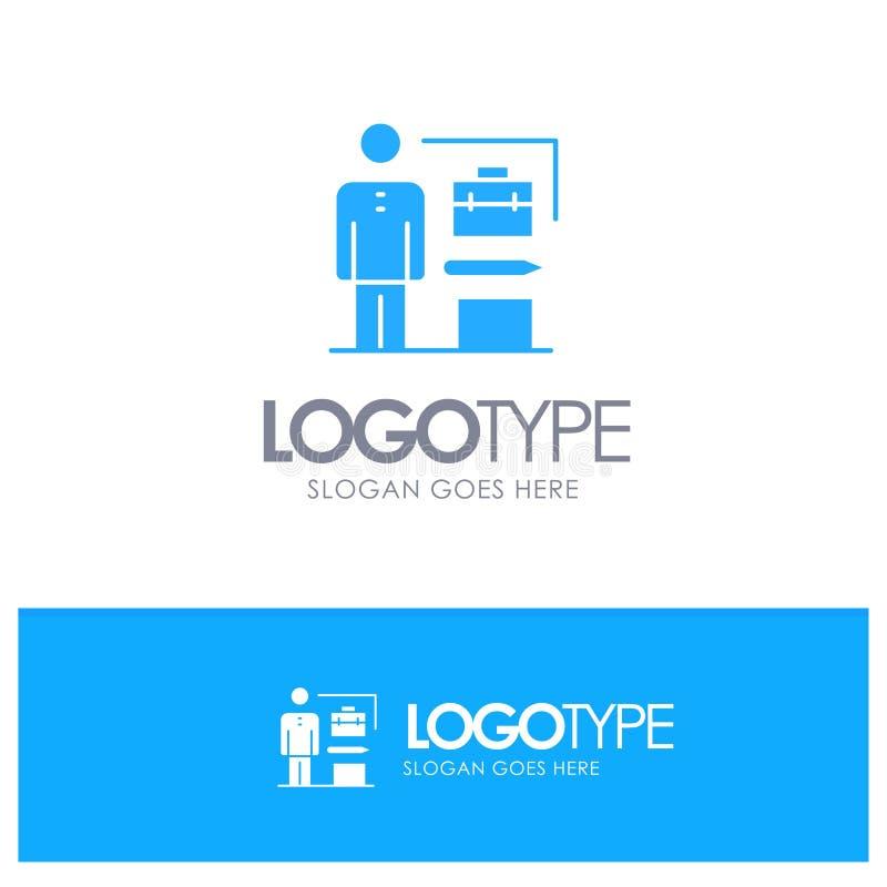 Las capacidades, logradas, alcanzan, hombre de negocios Blue Solid Logo con el lugar para el tagline stock de ilustración
