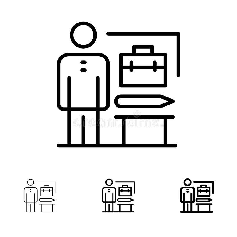 Las capacidades, logradas, alcanzan, hombre de negocios Bold y línea negra fina sistema del icono stock de ilustración