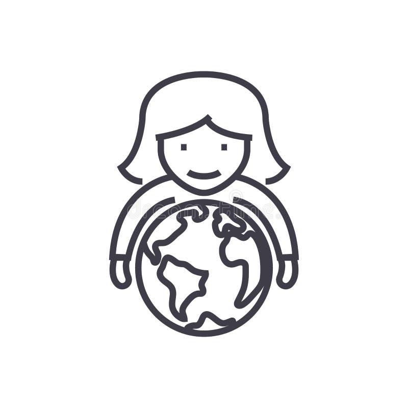 Las capacidades, mujer con el globo en manos vector la línea icono, muestra, ejemplo en el fondo, movimientos editable stock de ilustración