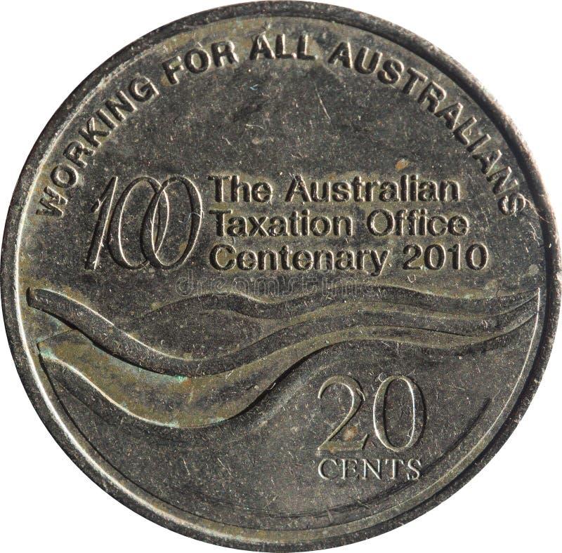 Las características australianas de la moneda del veinte-centavo que conmemoran el centenario de la oficina australiana de los im imágenes de archivo libres de regalías