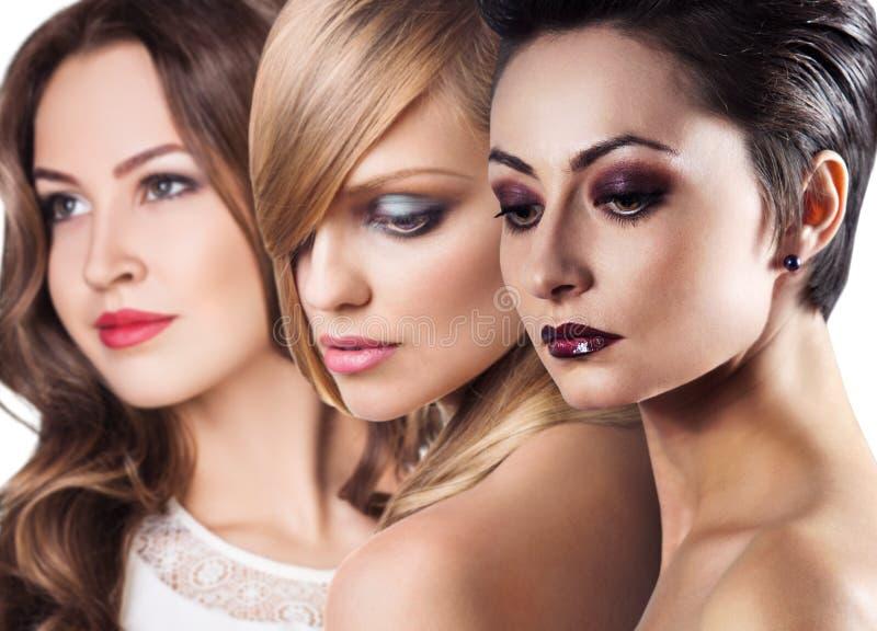 Las caras de las mujeres con la piel perfecta y componen fotos de archivo libres de regalías