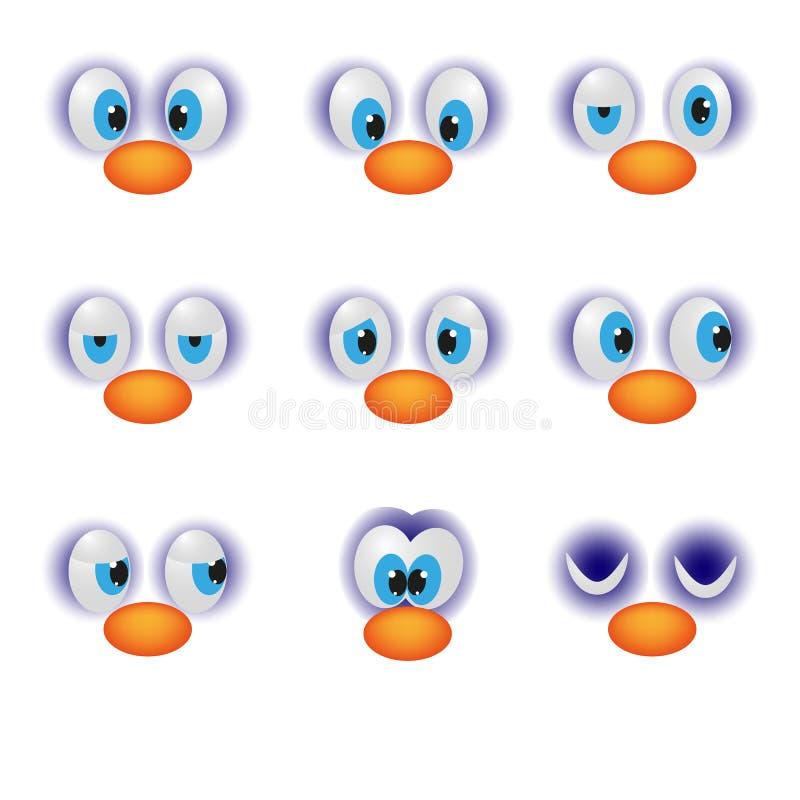Las caras divertidas de la historieta con el emoticon feliz del carácter del ojo de las emociones vector el ejemplo ilustración del vector
