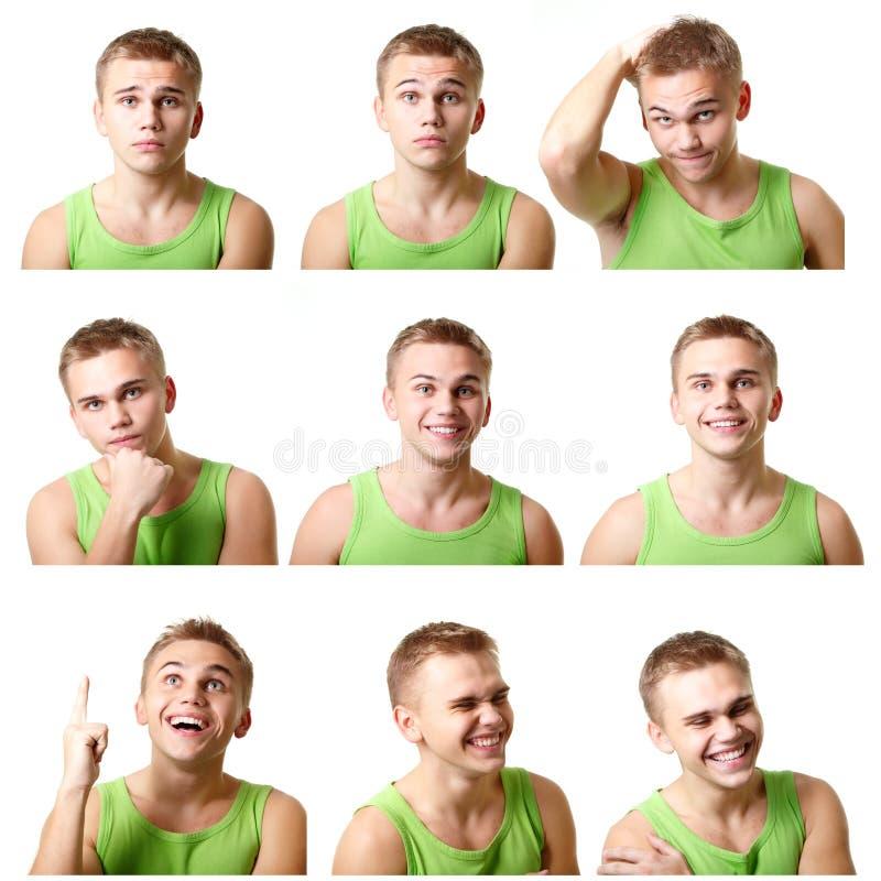 Las caras emocionales del hombre joven, expresiones fijaron sobre blanco imagen de archivo libre de regalías