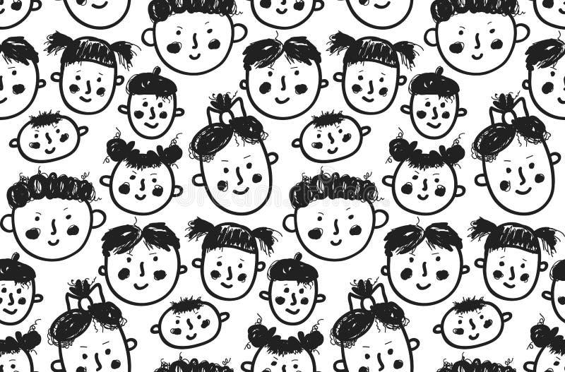 Las caras incompletas garabatean el modelo inconsútil del vector ilustración del vector