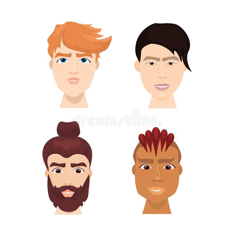 Las caras masculinas del inconformista diverso fijadas con las barbas elegantes y los cortes de pelo aislaron la colección de los ilustración del vector
