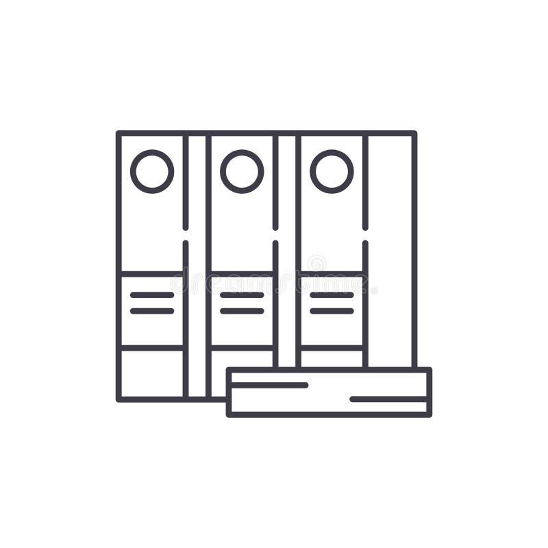 Las carpetas de la oficina alinean concepto del icono Ejemplo linear del vector de las carpetas de la oficina, símbolo, muestra libre illustration