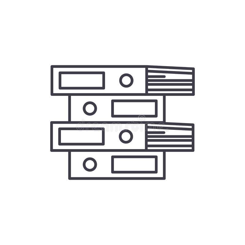 Las carpetas del documento alinean concepto del icono Ejemplo linear del vector de las carpetas del documento, símbolo, muestra stock de ilustración