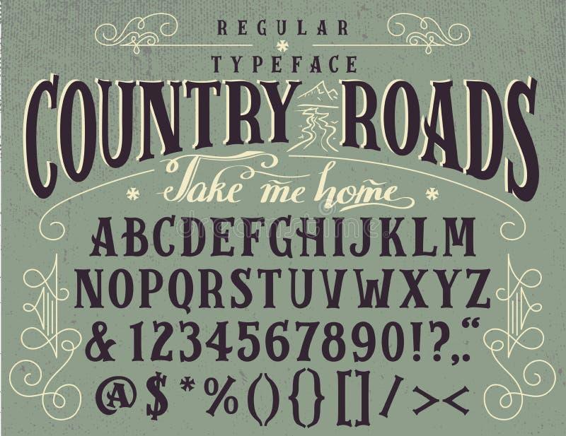 Las carreteras nacionales handcrafted tipografía retra ilustración del vector