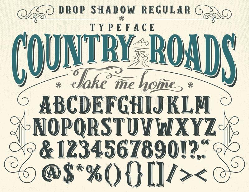 Las carreteras nacionales handcrafted tipografía retra stock de ilustración