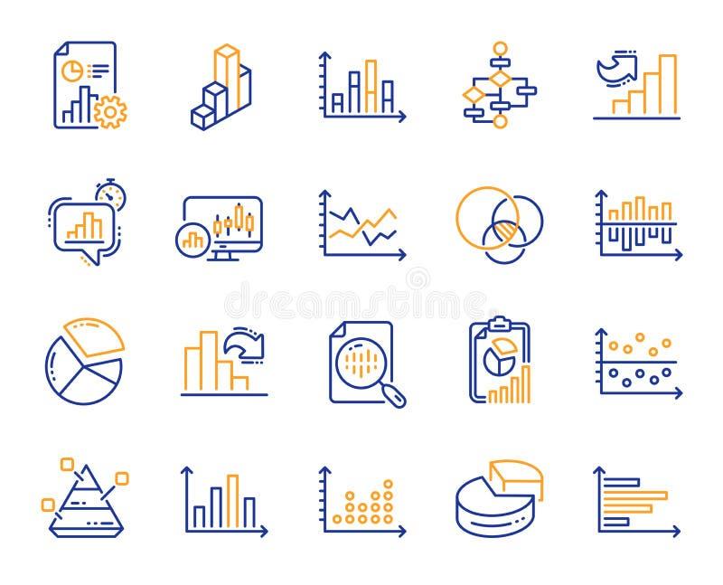 Las cartas y los diagramas alinean iconos Fije la carta 3D, bloque diagrama y los iconos del gráfico de Dot Plot Vector stock de ilustración