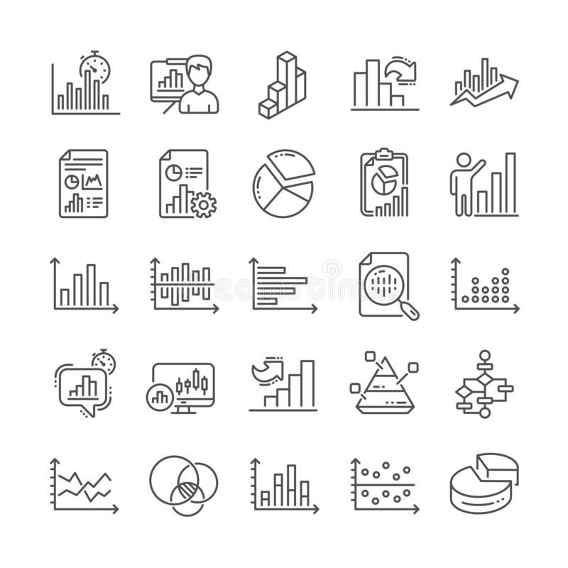 Las cartas y los diagramas alinean iconos Fije la carta 3D, bloque diagrama y los iconos del gráfico de Dot Plot Vector ilustración del vector