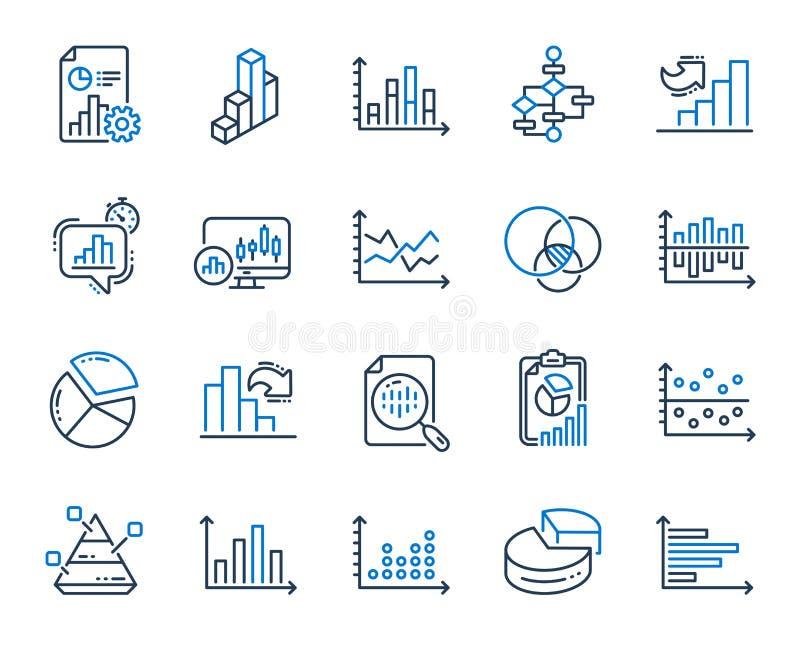 Las cartas y los diagramas alinean iconos Fije la carta 3D, bloque diagrama y los iconos del gr?fico de Dot Plot Vector libre illustration