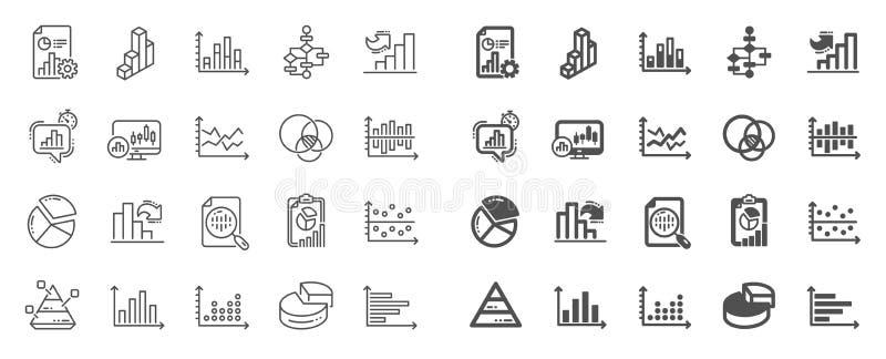 Las cartas y los diagramas alinean iconos Fije la carta 3D, bloque diagrama y los iconos del gr?fico de Dot Plot Vector ilustración del vector