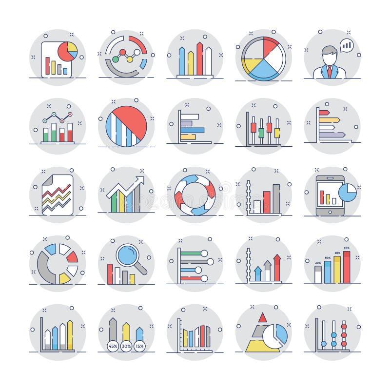 Las cartas y los diagramas de negocio colorearon los iconos 4 stock de ilustración