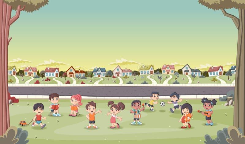 Las casas coloridas en vecindad del suburbio con la historieta linda embroman jugar libre illustration