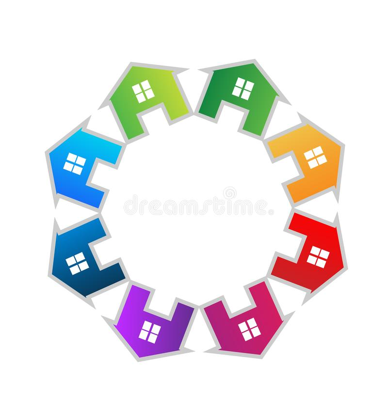 Las casas combinan el grupo de círculo, logotipo del vector de las propiedades inmobiliarias ilustración del vector
