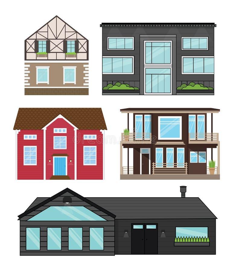 Las casas en estilo plano aislaron el sistema Apartamentos modernos, casas de campo, hogares turísticos para reservar, vida y ven ilustración del vector