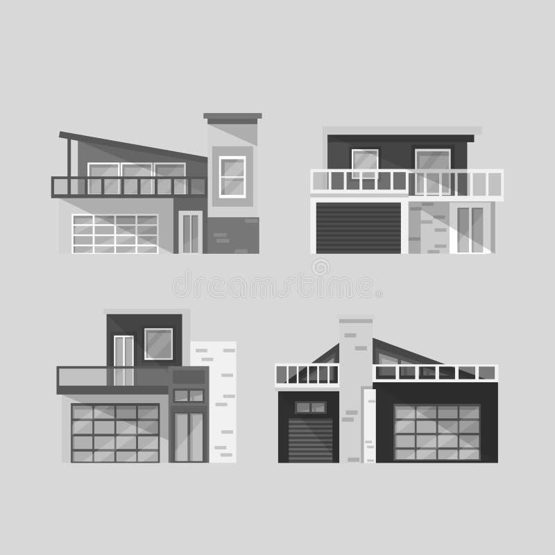 Las Casas Modernas Fijaron Blanco Y Negro Ilustraci N Del