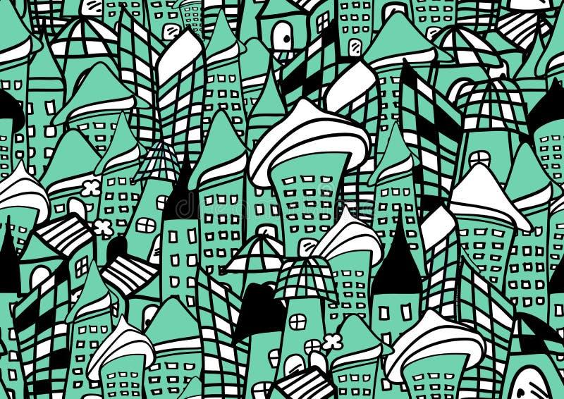 Las casas y el modelo inconsútil de los edificios vector el ejemplo para la tela, paño, paquete, pared, decoración, muebles, medi libre illustration