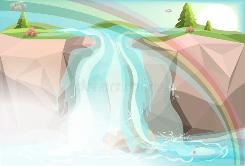 Las cascadas son pescados grandes en el medio de bosque verde stock de ilustración