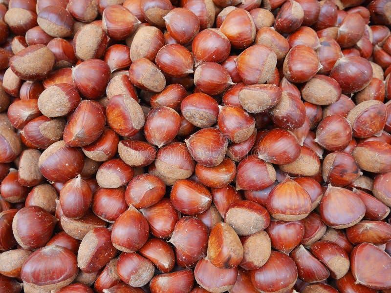 Las castañas dulces, las castañas comestibles las no comestibles se llaman sal de las castañas de Indias f asada, son bocados san fotografía de archivo libre de regalías