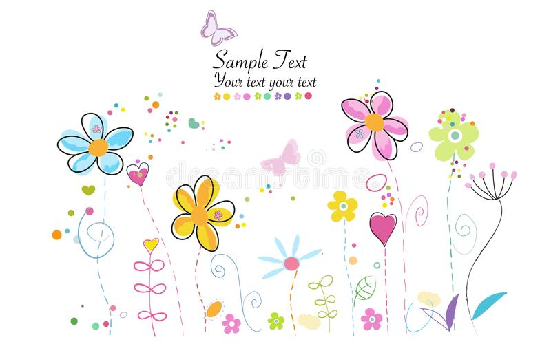 Las castañas orgánicas crudas de Brown en un BowlSpring miden el tiempo del fondo moderno lindo colorido del ejemplo de las flore libre illustration