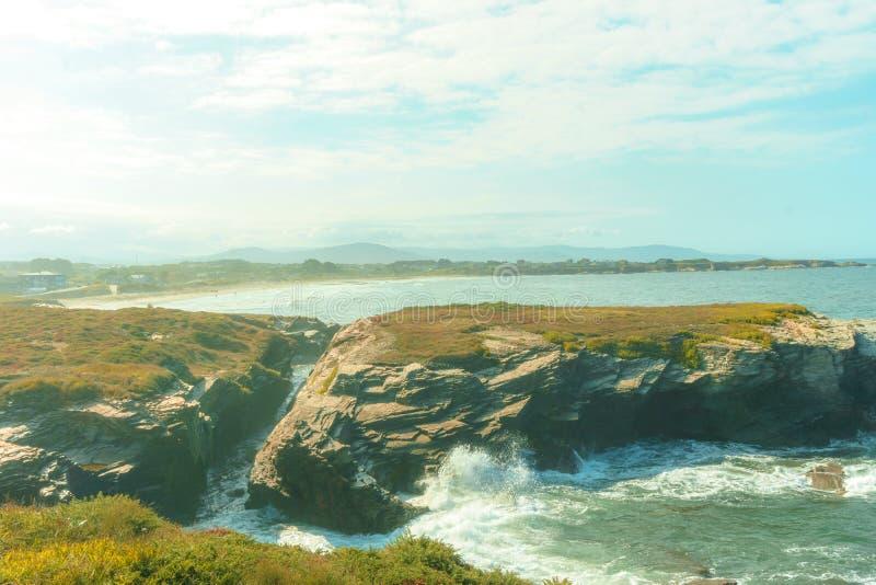 Las catedrales de Playa de las catedrais varan, en Galicia, España fotografía de archivo libre de regalías