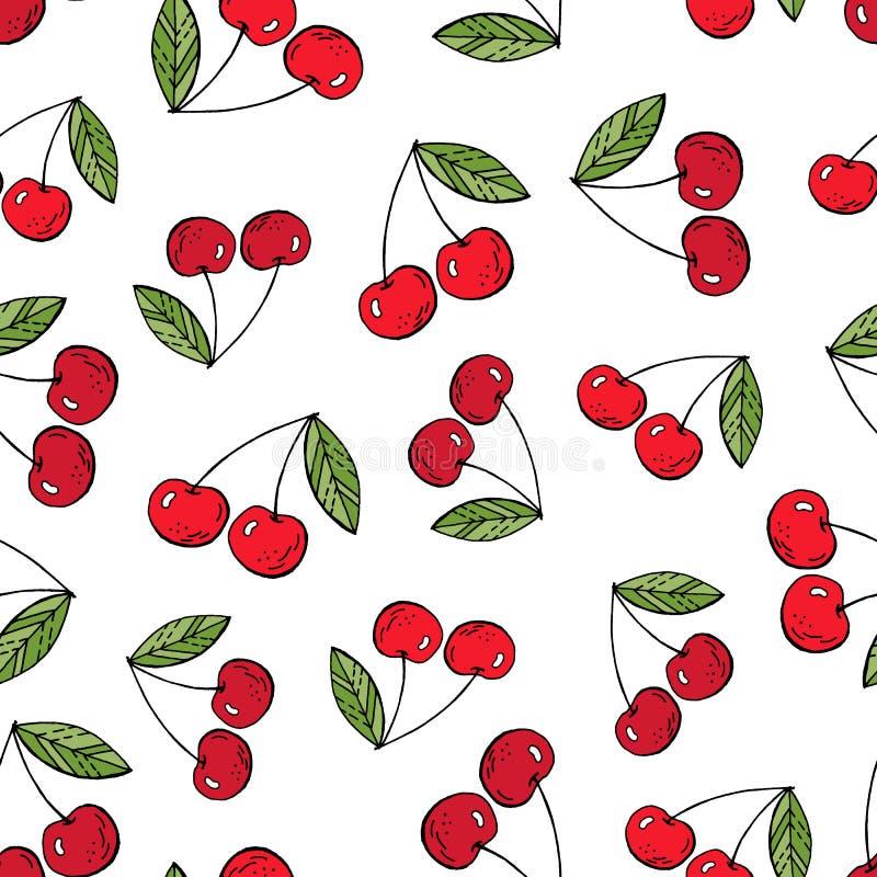 Las cerezas dan el dibujo ilustración del vector