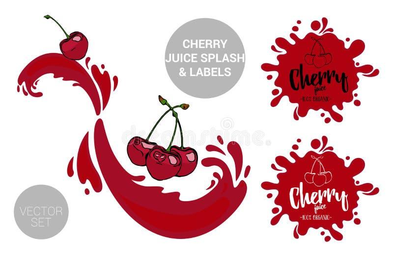Las cerezas rojas en el jugo salpican Etiquetas org?nicas de las etiquetas de la fruta stock de ilustración