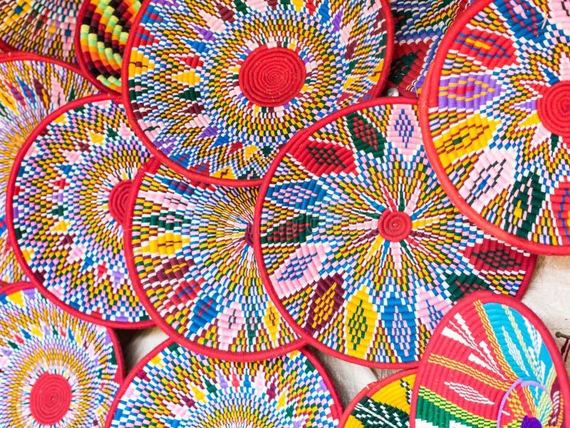 Las cestas hechas a mano etíopes de Habesha vendieron en Axum, Etiopía fotografía de archivo