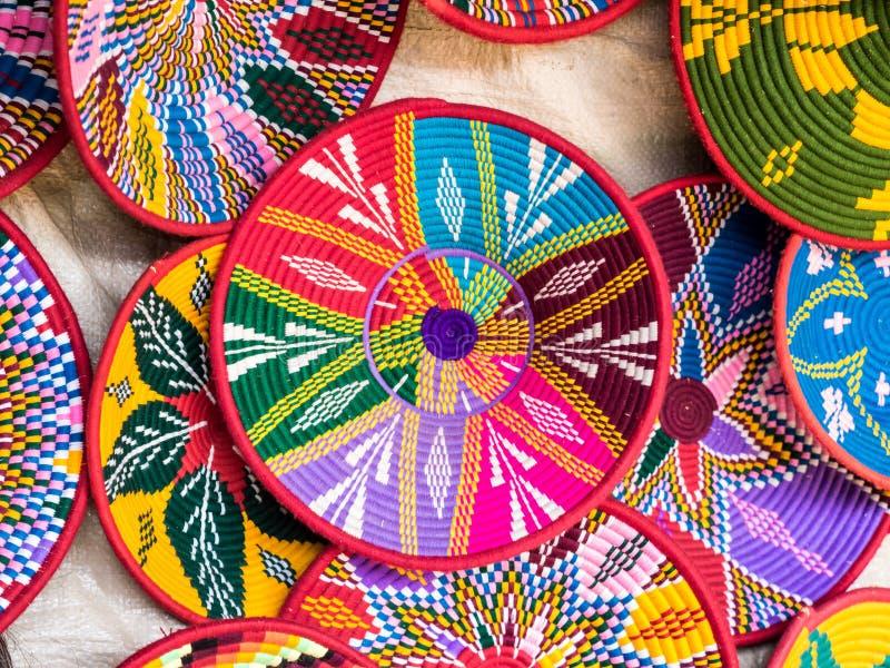 Las cestas hechas a mano etíopes de Habesha vendieron en Axum, Etiopía foto de archivo libre de regalías