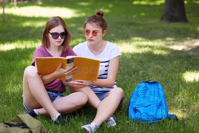Las chicas jóvenes que se sientan en hierba en parque y se preparan para las clases, llevan la ropa casual y las gafas de sol, se imagenes de archivo