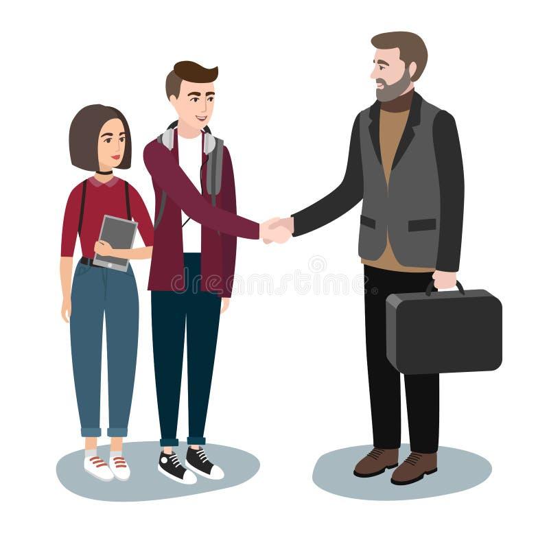 Las chicas jóvenes y los muchachos en ropa casual sacuden las manos con los hombres adultos en un traje Estudiantes modernos de l stock de ilustración