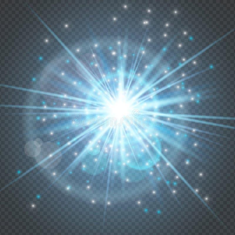 Las chispas brillan brillando intensamente - la estrella estalló resplandor con la llamarada de la lente aislada en el contexto t ilustración del vector