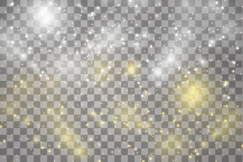 Las chispas y las estrellas blancas y de oro brillan efecto luminoso especial El vector chispea en fondo transparente Navidad ilustración del vector