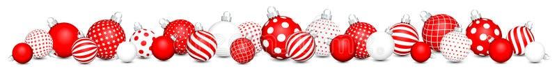 Las chucherías horizontales de la Navidad de la bandera veintisiete modelan rojo y blanco stock de ilustración