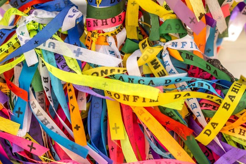 Las cintas coloreadas tradicionales llamaron Bonfim en Bahía, el Brasil fotografía de archivo libre de regalías