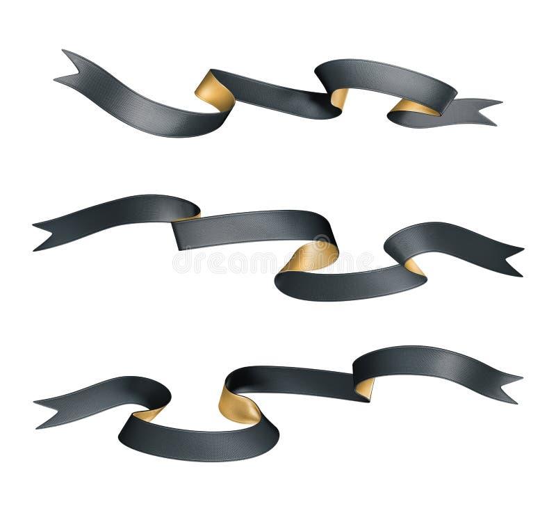 las cintas del negro del oro doble 3d fijaron aislado en el fondo blanco libre illustration