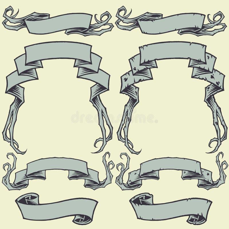 Las cintas y dañaron las cintas fijadas stock de ilustración