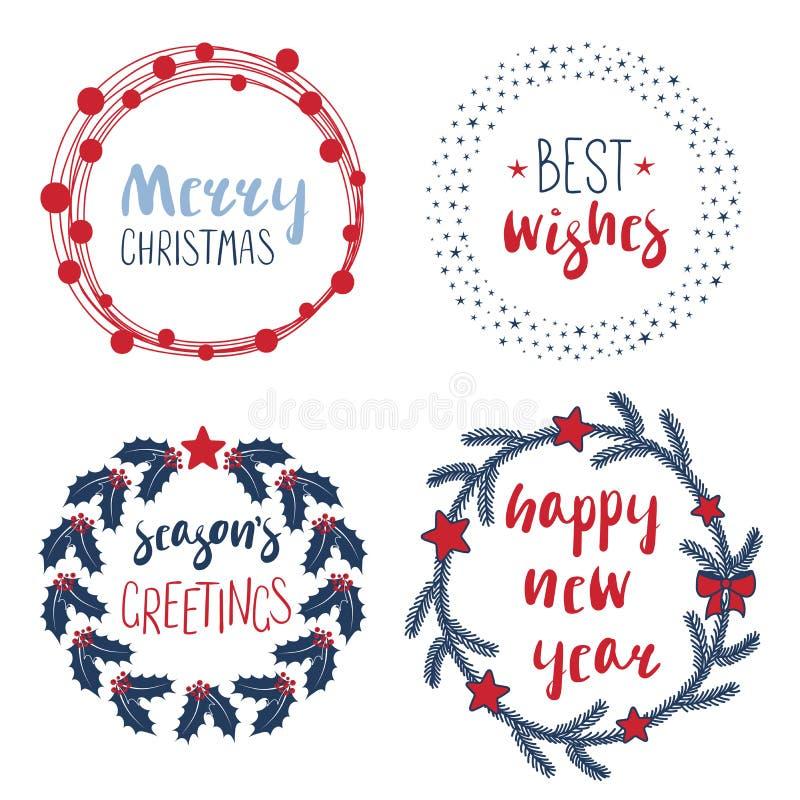 Las citas de la Navidad adentro enrruellan y los marcos redondos libre illustration