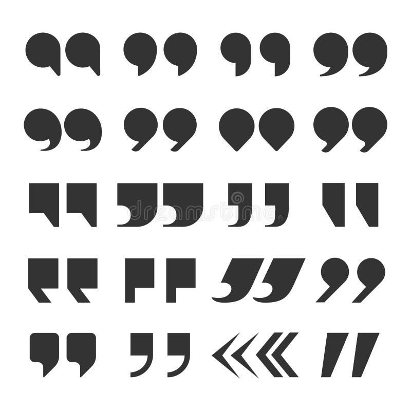 Las citas marcan Coma doble de marcado de las comas del extracto de la puntuación del discurso de la cita Sistema del botón de la libre illustration