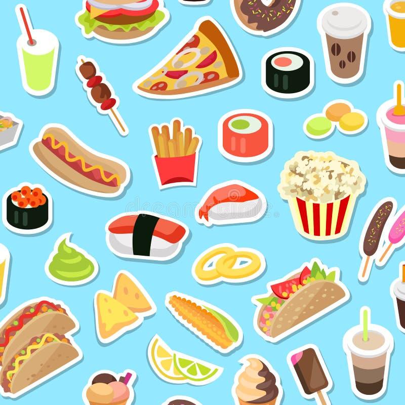 Las clases ayunan y de los desperdicios de comida dispersadas en azul stock de ilustración