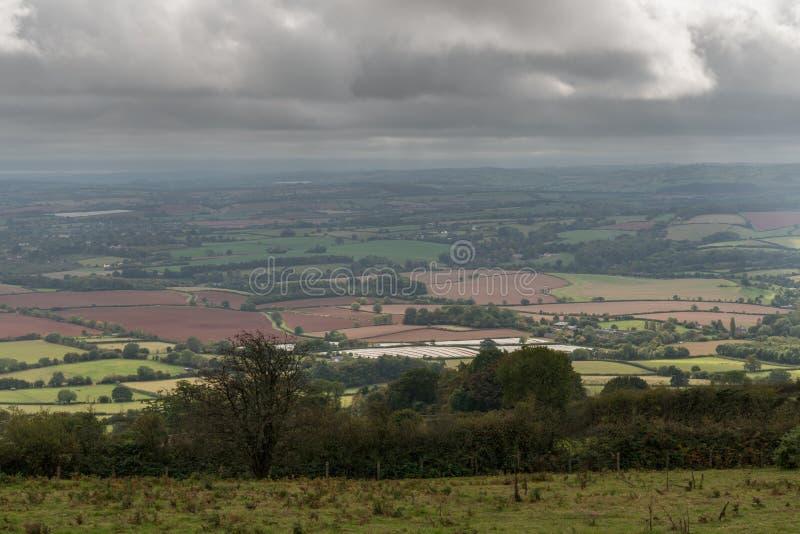 Las colinas de Quantock ajardinan, Inglaterra, Reino Unido imagenes de archivo