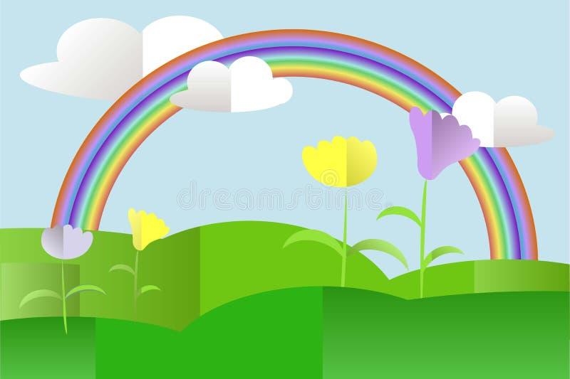 Las colinas verdes ajardinan, violetas y amarillas las flores, arco iris, cielo azul, nubes blancas, diseño plano ilustración del vector